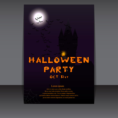 halloween flyer: Halloween flyer design with castle silhouette on full moon. Vector illustration. Template for Halloween party invitation.