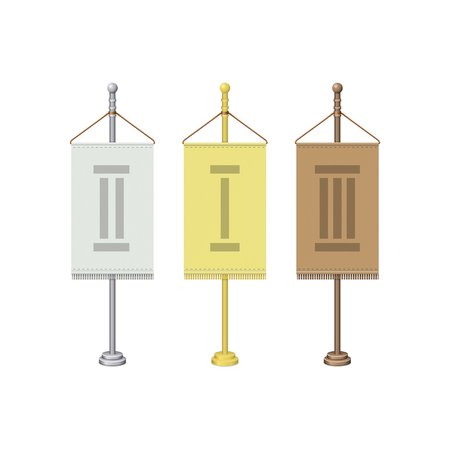 flagpoles: Vector set of flagpoles. Gold, silver and bronze flagpoles. Isolated on white. Illustration