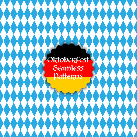 checked flag: Vector seamless pattern background in bavarian colors. Oktoberfest background. Beer festival vector illustration.