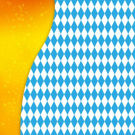 Vector background with Bavarian flag and silhouette of beer mug. Design for Oktoberfest or beer festival.