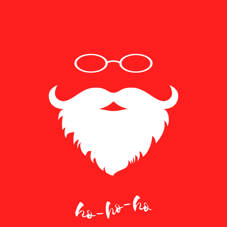 white beard: Santa Clauss luxuriant white beard and glasses. Template for Christmas greeting card. Christmas background with white beard and glasses. Vector illustration.