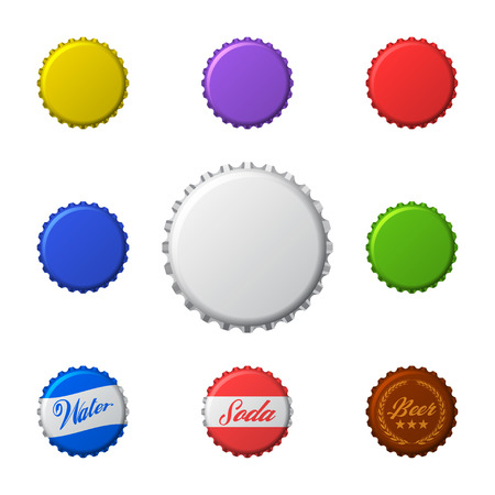 Vector set of colorful bottle caps. Isolated on white background.