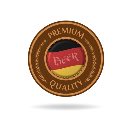 bier: Vector beer mat or bierdeckel with bottle cap and flag of Germany. Isolated on white.