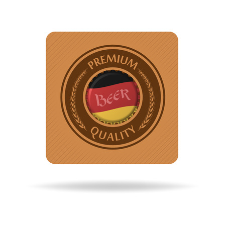 bier: Vector square beer mat or bierdeckel with bottle cap and flag of Germany. Isolated on white. Illustration