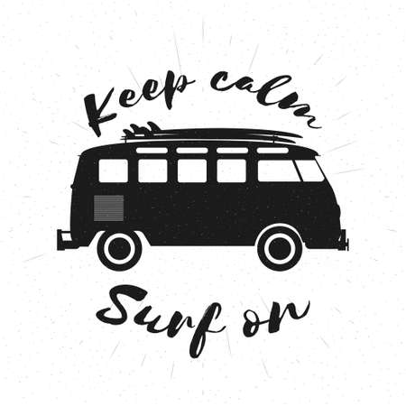 combi: Retro grunge black and white bus with surfboards and lettering. Surfing concept. Vector illustration.