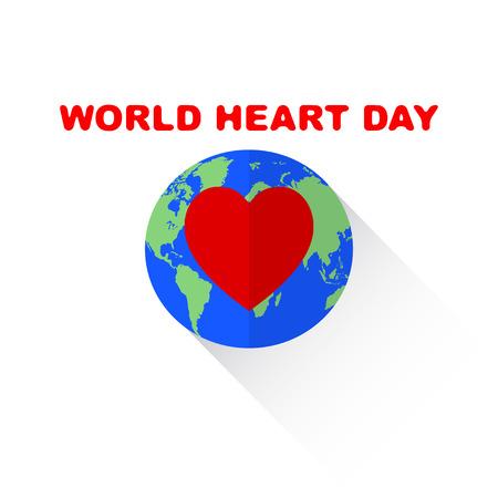Vector World Heart Day illustation. Isolated on white.