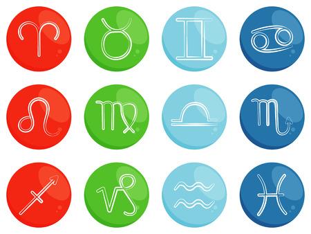 cuatro elementos: Vector signos del zodiaco. Símbolos de horóscopo. Los signos del zodíaco ordenados por cuatro elementos: fuego, tierra, aire, agua. símbolos astrológicos Vectores