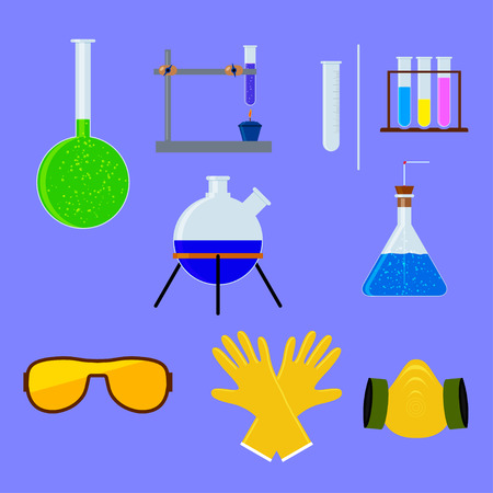 distilling: Set of laboratory flasks and test tube with personal protective equipment . Chemistry objects in flat design. Vector illustration. Illustration