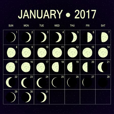 moon phases: Vector Moon phases calendar for January 2017 on night sky. Template of moon calendar.