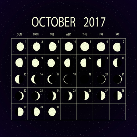 moon phases: Moon phases calendar for 2017 on night sky. October. Vector illustration.