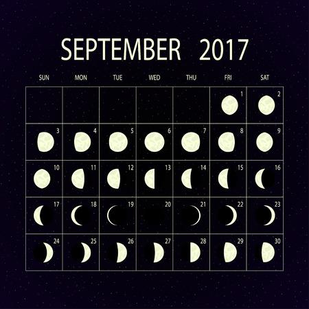 moon phases: Moon phases calendar for 2017 on night sky. September. Vector illustration. Illustration