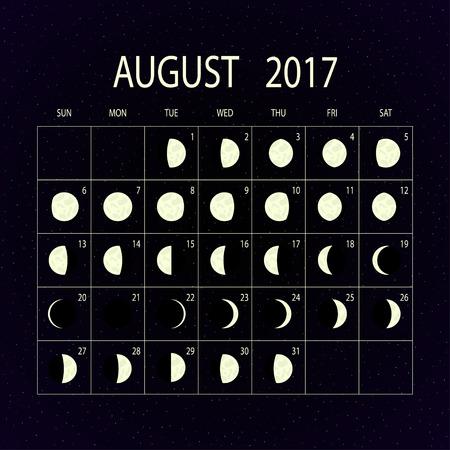 moon phases: Moon phases calendar for 2017 on night sky. August. Vector illustration.
