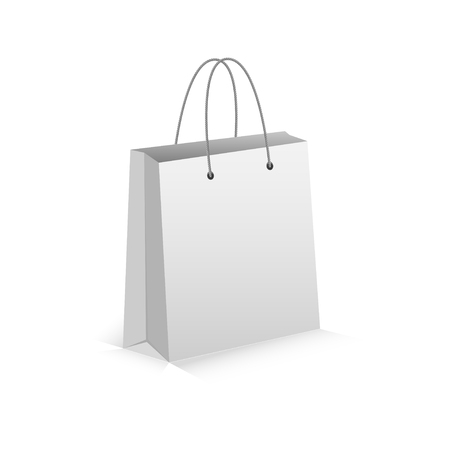 shoping bag: Realistic White Empty Bag for Shoping with Shadow. Isolated on white. Vector Eps 10.