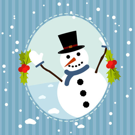 Happy snowman greets you. Christmas background with snowman. Retro style card for the New Year or Christmas. Vector illustration. Ilustração