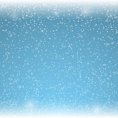 snowfalls: Christmas blue background with falling snowflakes. Winter snowfalls. Vector illustration.