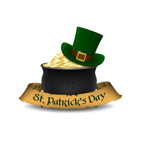 St. Patricks Day symbols - leprechaun hat and pot of gold. Vector illustration.