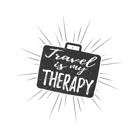 Travel is my therapy inscription with rays of blast isolated on white background. Vector illustration. Иллюстрация