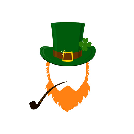 clover face: Vector modern flat design icon on Saint Patricks Day leprechaun with green hat, red beard, smoking pipe and no face Stock Photo