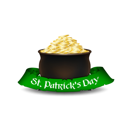 St. Patricks Day symbol - leprechauns pot of gold with green ribbon. Isolated on white background. Vector illustration.