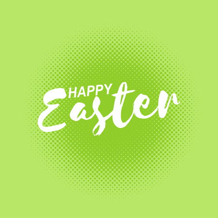 Happy Easter inscription on green dotted background. Vector illustration.