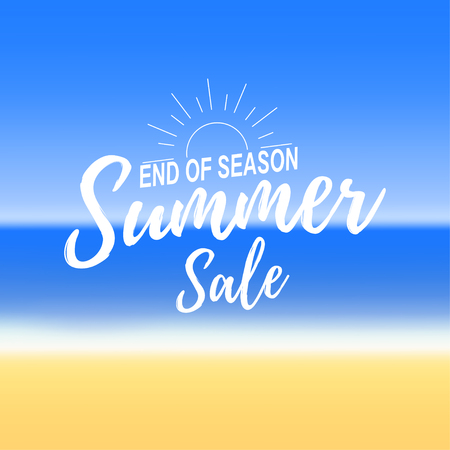 Advertisement about the summer sale on defocused background with beautiful tropical sea beach view