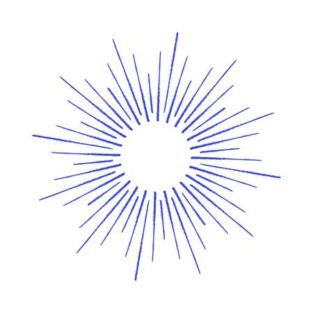 Vector linear drawing of rays of the sun or sun burst by ink.