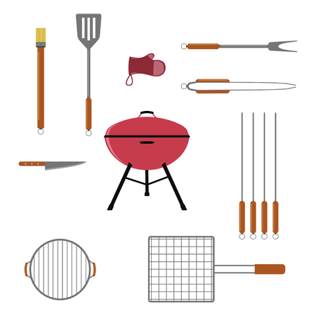 grill tongs sausage: Vector set of BBQ or grill tools. Isolated on white background.