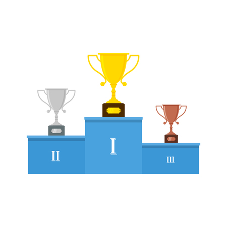 A Vector winners podium or pedestal with gold, silver and bronze trophy cups. Illustration