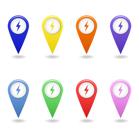 Vector set of colorful map pointers of electric car charging station. Electric vehicle charging station marker. Ilustracja