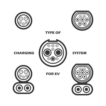 Vector set of type of charging system for electric vehicle. Different type of plugs for electric car.