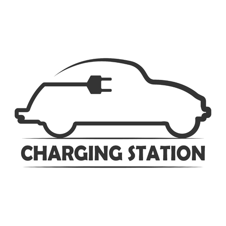 Icon for electric vehicle charging station. Electric car recharge icon. Vector illustration.