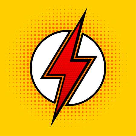 Lightning in pop art style. Sign of superhero. Vector illustration. Imagens - 77169502