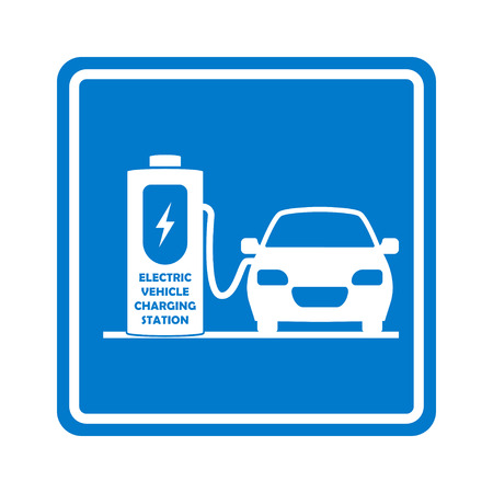 Charging station road sign. Place for charge electric car or vehicle. Vector illustration. Illustration