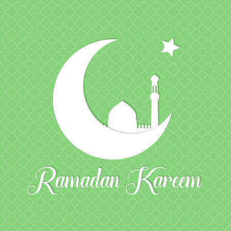 Ramadan background. Ramadan Kareem greeting card template with crescent, star and silhouette of mosque. Vector illustration.