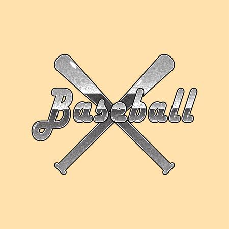 Vector Baseball stipple lettering and baseball bats background.