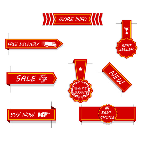 Vector set of red price tags, labels, stickers, arrows and ribbons. Isolated on white.