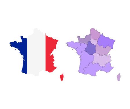 Vector Frankreich-Karte mit bunten Regionen, Grenzen und Flagge. Getrennt auf Weiß. Vektorgrafik