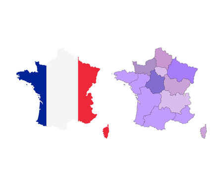 Vector France map with colorful regions, borders and flag. Isolated on white.