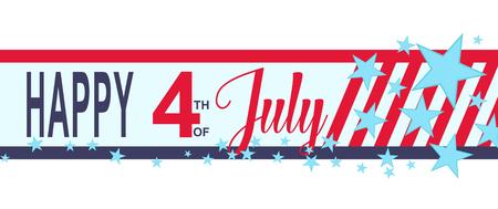 ベクター幸せな 7 月バナー星条旗の 4 h。アメリカ独立記念日のデコレーション。  イラスト・ベクター素材