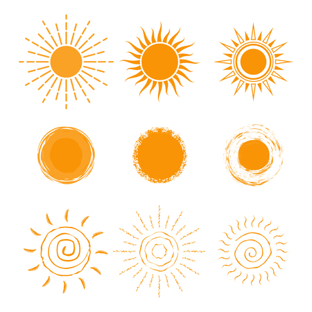 Set of different sun icon. New sun icon collection. Isolated on white background. Vector illustration.