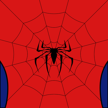defender: Vector black web with spider on red background.