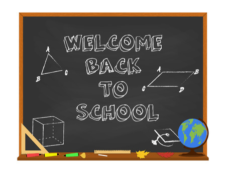 Vector welcome back to school concept with chalkboard and school supplies. Isolated on white background.
