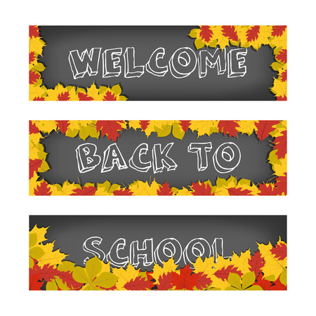 fall leaves: Welcome back to school banners with autumn leaves for advertising and sales.