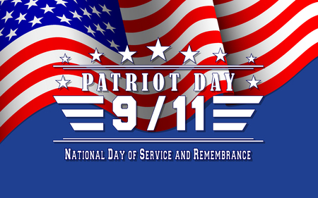 Vector Patriot Day background with US flag and lettering. Template for National day of service and remembrance.