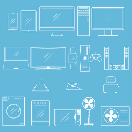 Vector household appliances outline icons. Different modern household equipment and digital devices icon for web design.