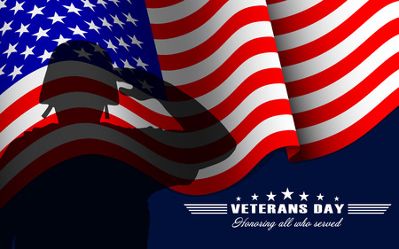 Vector Veterans Day background with saluting soldier, US national flag and lettering. Template for Veterans Day.