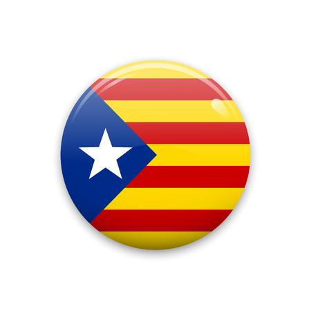 Insignia de vector o etiqueta con la bandera de Cataluña. Aislado en el fondo blanco. Foto de archivo - 87466909