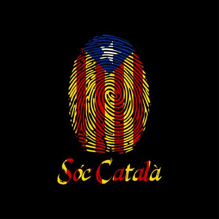 Huella dactilar del vector con la bandera y el texto de Cataluña Soy catalán en lengua catalana. Plantilla para imprimir en camisetas y otros productos. Foto de archivo - 87466911