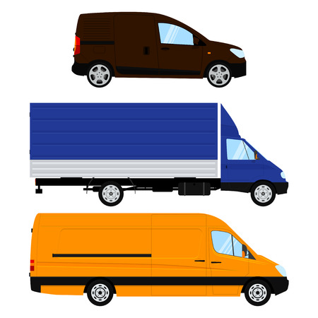 Set of different commercial car and vehicle. Isolated on white background.
