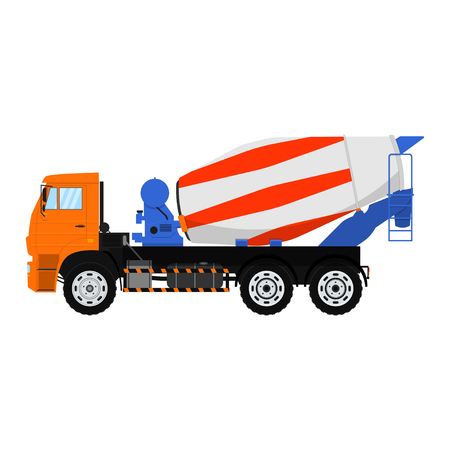 Vector Concrete mixer truck. Isolated on white background.